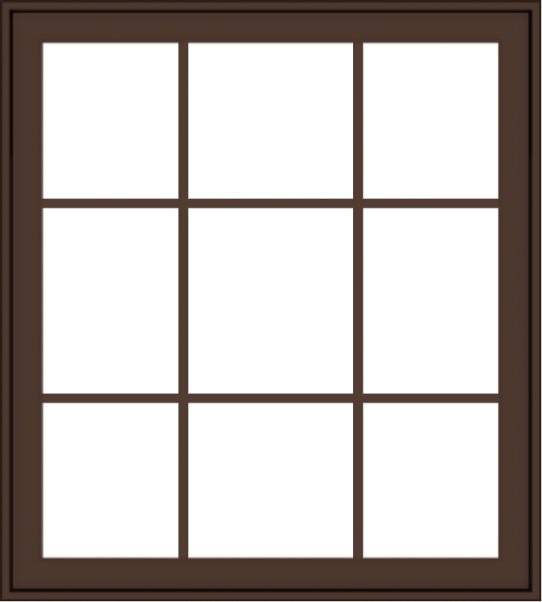WDMA 36x40 (35.5 x 39.5 inch) Oak Wood Dark Brown Bronze Aluminum Crank out Awning Window with Colonial Grids Exterior