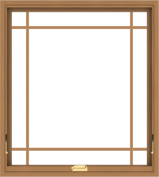 WDMA 36x40 (35.5 x 39.5 inch) Oak Wood Dark Brown Bronze Aluminum Crank out Awning Window with Prairie Grilles