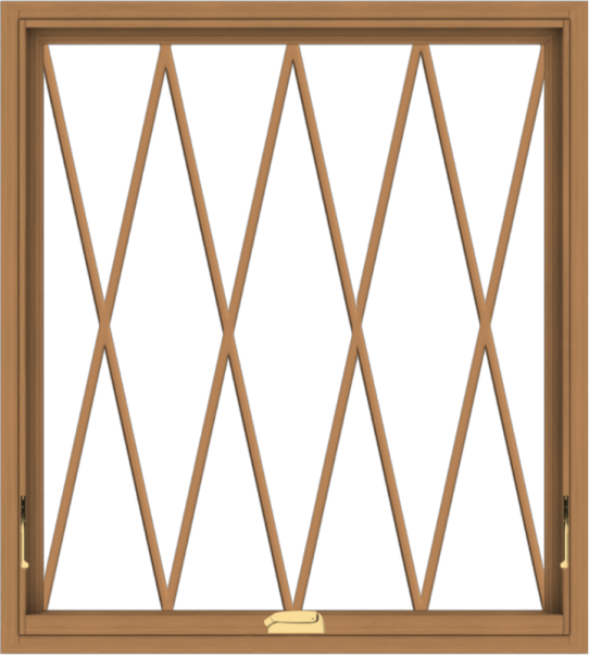 WDMA 36x40 (35.5 x 39.5 inch) Oak Wood Dark Brown Bronze Aluminum Crank out Awning Window without Grids with Diamond Grills