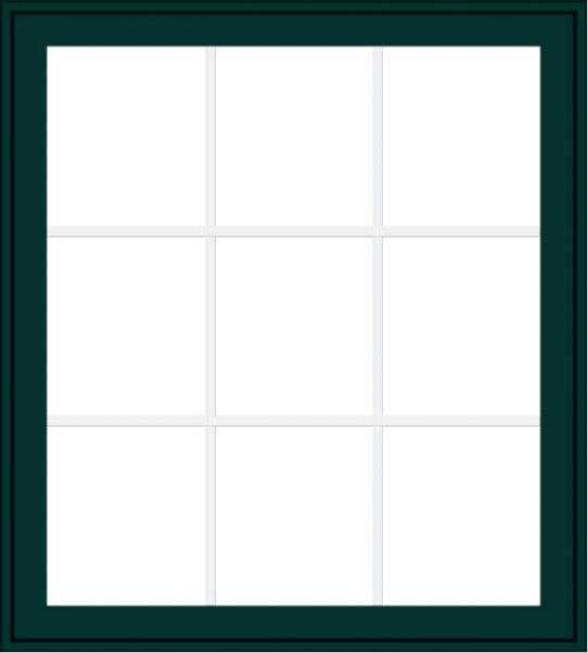 WDMA 36x40 (35.5 x 39.5 inch) Oak Wood Green Aluminum Push out Awning Window with Colonial Grids Exterior