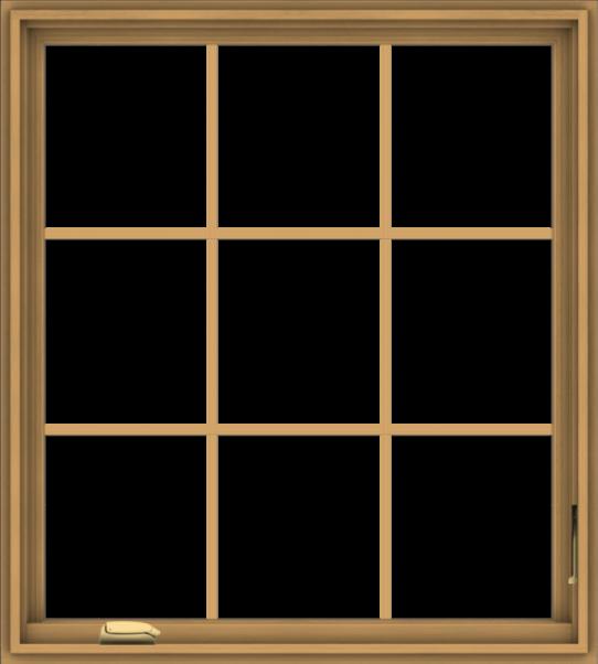 WDMA 36x40 (35.5 x 39.5 inch) Pine Wood Dark Grey Aluminum Crank out Casement Window without Grids