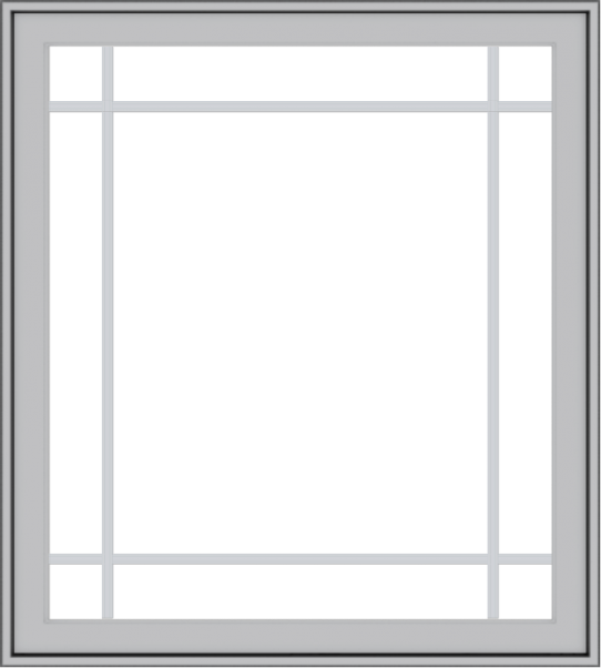 WDMA 36x40 (35.5 x 39.5 inch) Pine Wood Light Grey Aluminum Push out Casement Window with Prairie Grilles