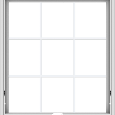 WDMA 36x40 (35.5 x 39.5 inch) White Vinyl uPVC Crank out Awning Window with Colonial Grids Interior