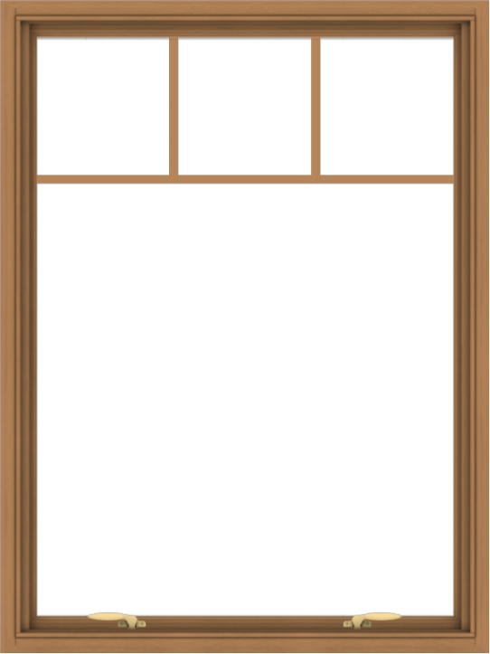 WDMA 36x48 (35.5 x 47.5 inch) Oak Wood Green Aluminum Push out Awning Window with Fractional Grilles