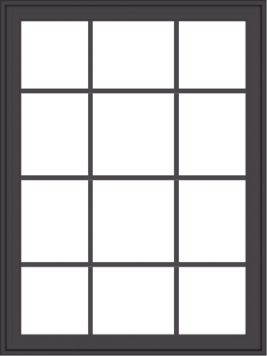 WDMA 36x48 (35.5 x 47.5 inch) Pine Wood Dark Grey Aluminum Crank out Casement Window with Colonial Grids Exterior