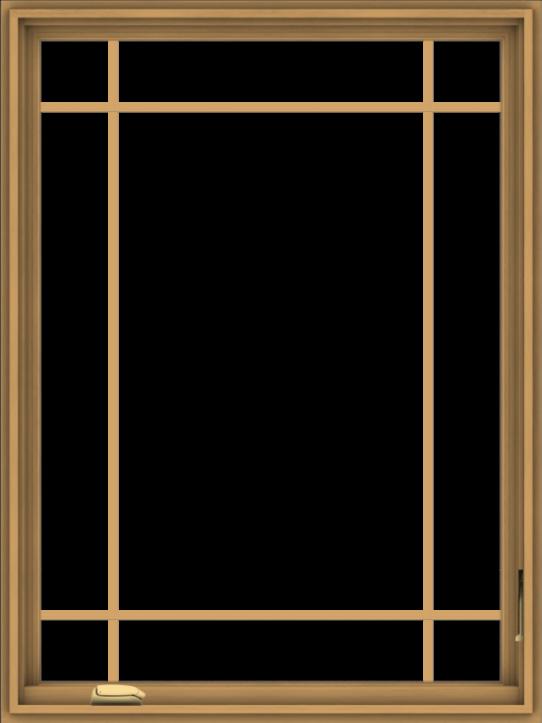 WDMA 36x48 (35.5 x 47.5 inch) Pine Wood Dark Grey Aluminum Crank out Casement Window with Prairie Grilles