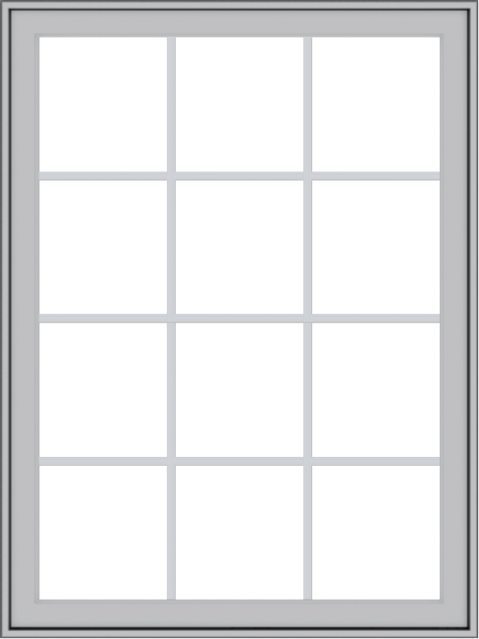 WDMA 36x48 (35.5 x 47.5 inch) Pine Wood Light Grey Aluminum Push out Casement Window with Colonial Grids Exterior