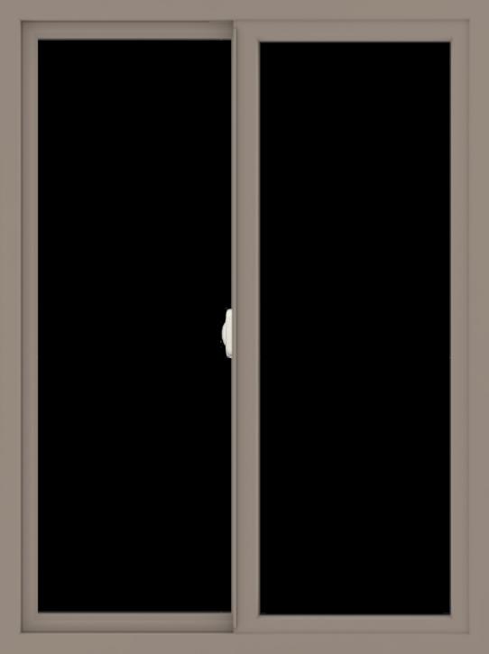WDMA 36x48 (35.5 x 47.5 inch) Vinyl uPVC Brown Slide Window without Grids Interior