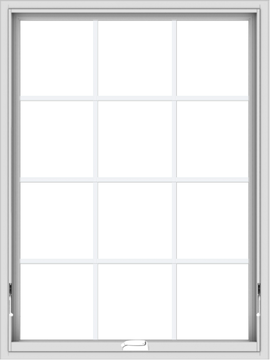 WDMA 36x48 (35.5 x 47.5 inch) White Vinyl uPVC Crank out Awning Window with Colonial Grids Interior