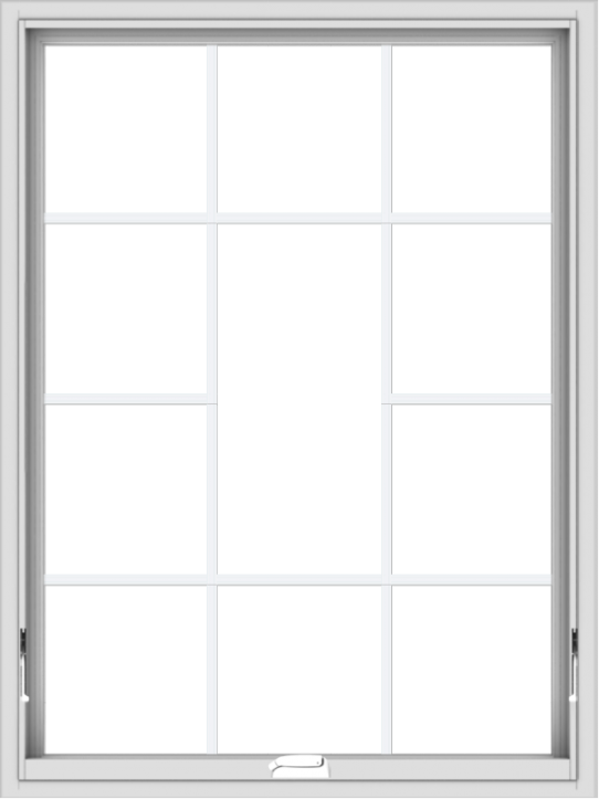 WDMA 36x48 (35.5 x 47.5 inch) White Vinyl uPVC Crank out Awning Window without Grids with Victorian Grills
