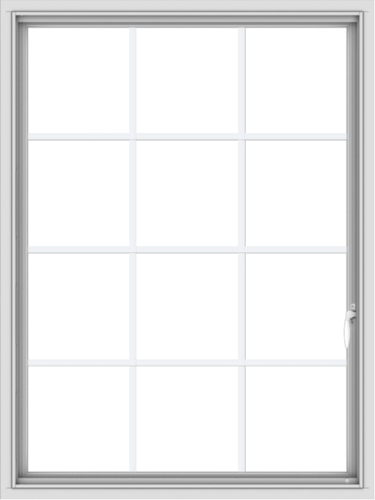 WDMA 36x48 (35.5 x 47.5 inch) White uPVC Vinyl Push out Casement Window without Grids