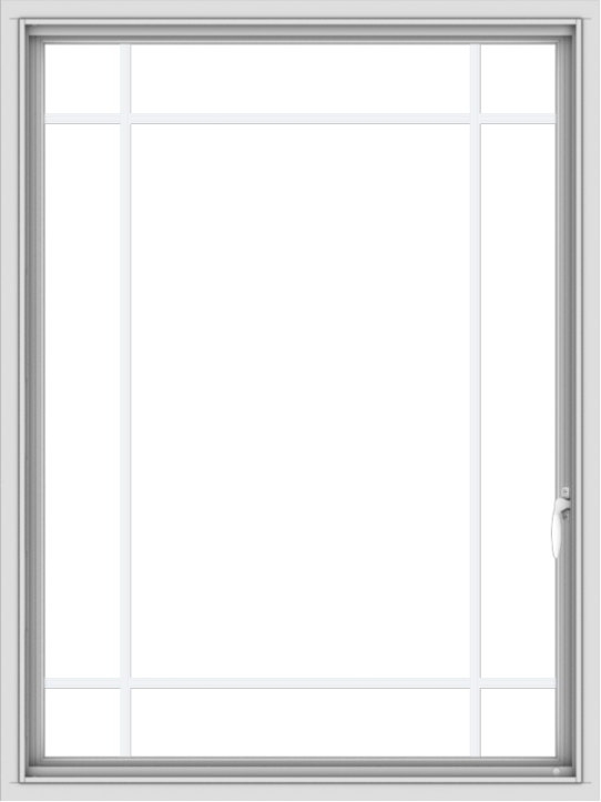 WDMA 36x48 (35.5 x 47.5 inch) White uPVC Vinyl Push out Casement Window with Prairie Grilles
