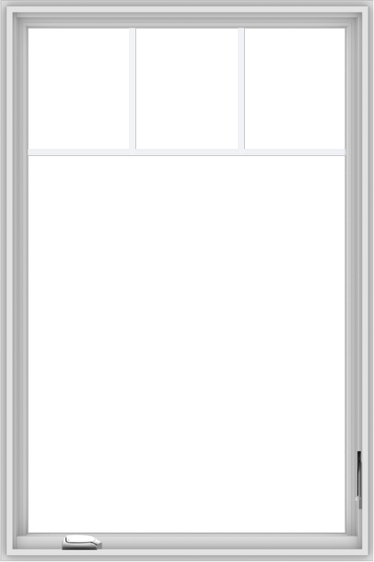 WDMA 36x54 (35.5 x 53.5 inch) White Vinyl UPVC Crank out Casement Window with Fractional Grilles
