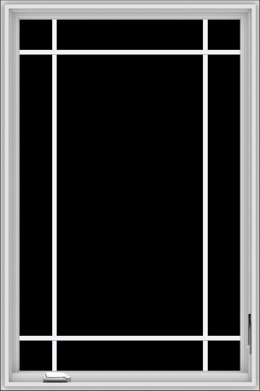 WDMA 36x54 (35.5 x 53.5 inch) White Vinyl UPVC Crank out Casement Window with Prairie Grilles