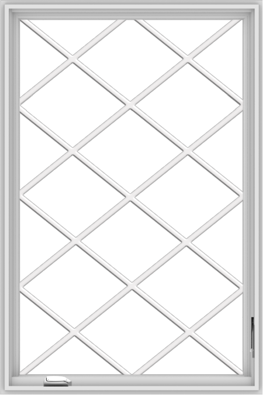 WDMA 36x54 (35.5 x 53.5 inch) White Vinyl UPVC Crank out Casement Window without Grids with Diamond Grills