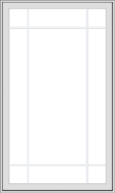 WDMA 36x60 (35.5 x 59.5 inch) White uPVC Vinyl Push out Casement Window with Prairie Grilles