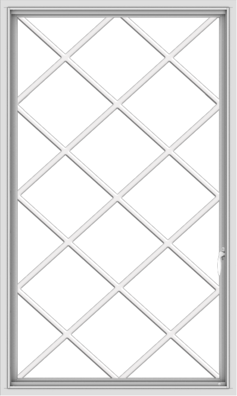 WDMA 36x60 (35.5 x 59.5 inch) White uPVC Vinyl Push out Casement Window without Grids with Diamond Grills