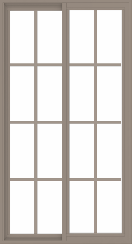WDMA 36x66 (35.5 x 65.5 inch) Vinyl uPVC Brown Slide Window with Colonial Grids Exterior