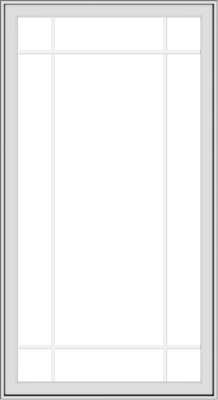WDMA 36x66 (35.5 x 65.5 inch) White uPVC Vinyl Push out Casement Window with Prairie Grilles