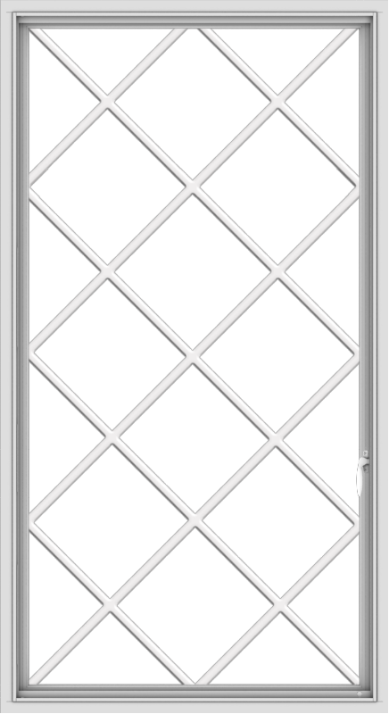 WDMA 36x66 (35.5 x 65.5 inch) White uPVC Vinyl Push out Casement Window without Grids with Diamond Grills