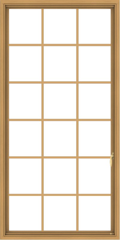 WDMA 36x72 (35.5 x 71.5 inch) Pine Wood Light Grey Aluminum Push out Casement Window without Grids