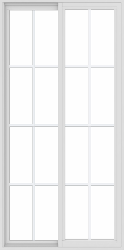 WDMA 36x72 (35.5 x 71.5 inch) Vinyl uPVC White Slide Window with Colonial Grids Exterior
