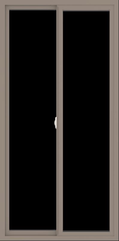 WDMA 36x72 (35.5 x 71.5 inch) Vinyl uPVC Brown Slide Window without Grids Interior