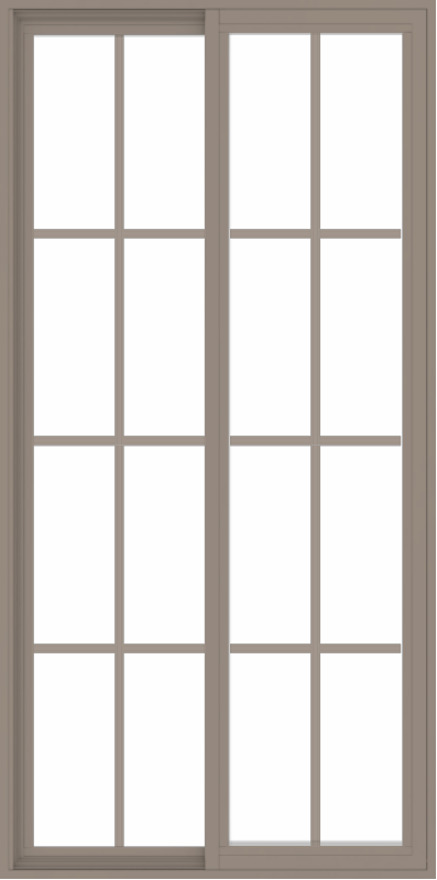 WDMA 36x72 (35.5 x 71.5 inch) Vinyl uPVC Brown Slide Window with Colonial Grids Exterior