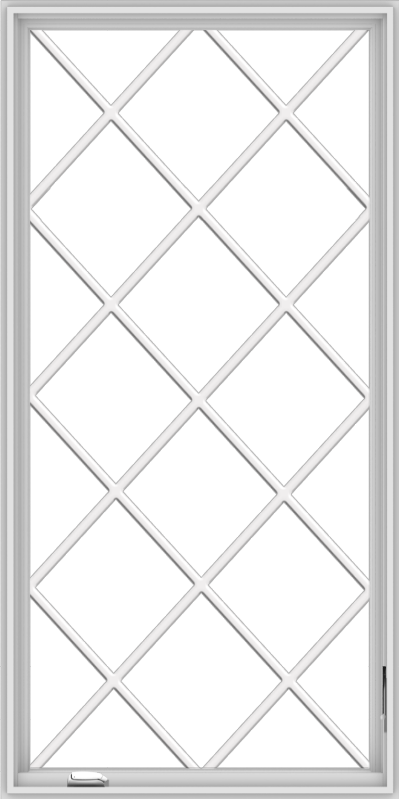 WDMA 36x72 (35.5 x 71.5 inch) White Vinyl UPVC Crank out Casement Window without Grids with Diamond Grills