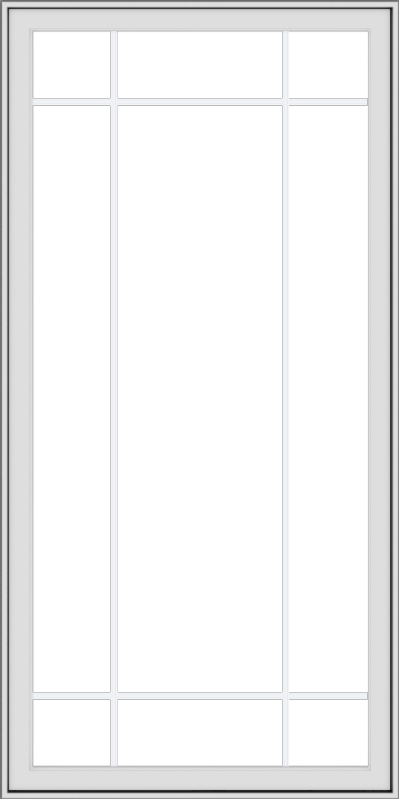 WDMA 36x72 (35.5 x 71.5 inch) White uPVC Vinyl Push out Casement Window with Prairie Grilles