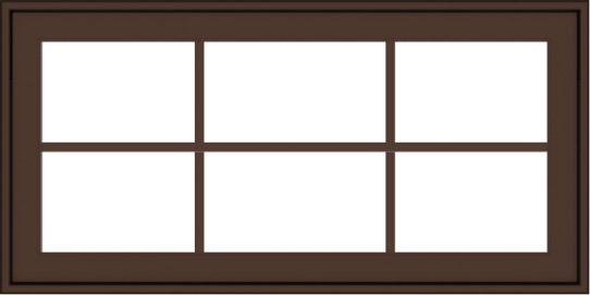 WDMA 40x20 (39.5 x 19.5 inch) Oak Wood Dark Brown Bronze Aluminum Crank out Awning Window with Colonial Grids Exterior