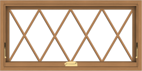 WDMA 40x20 (39.5 x 19.5 inch) Oak Wood Dark Brown Bronze Aluminum Crank out Awning Window without Grids with Diamond Grills