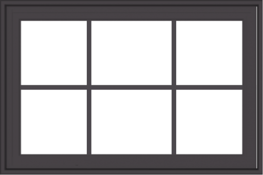WDMA 36x24 (35.5 x 23.5 inch) Pine Wood Dark Grey Aluminum Crank out Casement Window with Colonial Grids Exterior