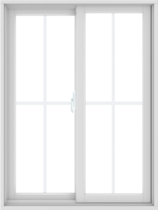 WDMA 36X48 (35.5 x 47.5 inch) White uPVC/Vinyl Sliding Window with Colonial Grilles