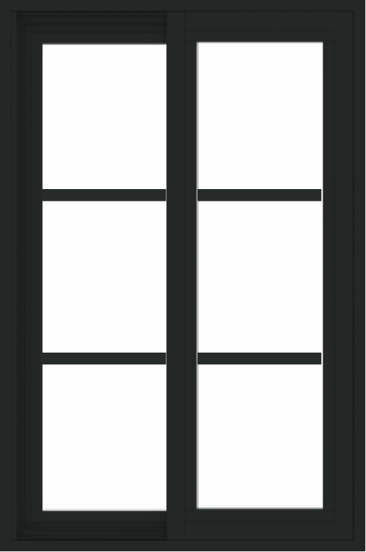 WDMA 24x36 (23.5 x 35.5 inch) black uPVC/Vinyl Slide Window with Colonial Grilles Exterior