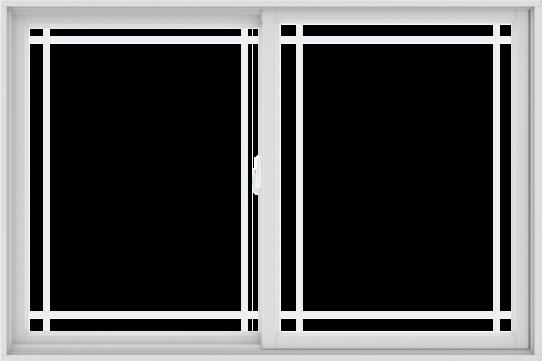 WDMA 72X48 (71.5 x 47.5 inch) White uPVC/Vinyl Sliding Window with Prairie Grilles