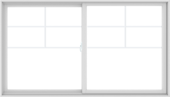 WDMA 84X48 (83.5 x 47.5 inch) White uPVC/Vinyl Sliding Window with Top Colonial Grids Grilles