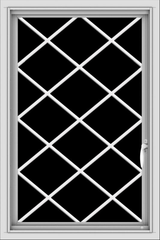 WDMA 24x36 (24.5 x 36.5 inch) White uPVC/Vinyl Push out Casement Window with Diamond Grids