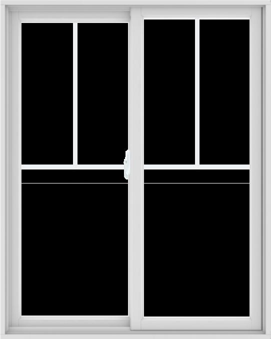 WDMA 48X60 (47.5 x 59.5 inch) White uPVC/Vinyl Sliding Window with Fractional Grilles
