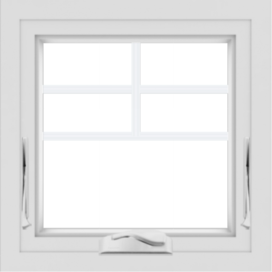 WDMA 24x24 (23.5 x 23.5 inch) White uPVC/Vinyl Crank out Awning Window with Top Colonial Grids