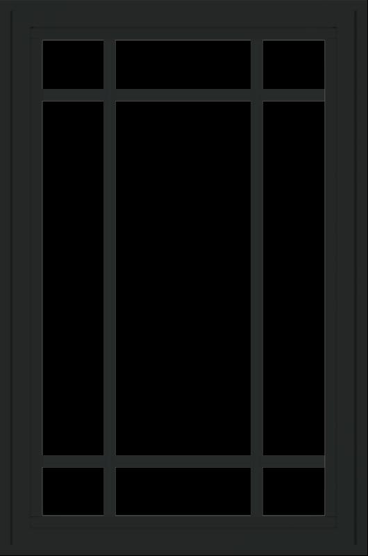 WDMA 24x36 (23.5 x 35.6 inch) black uPVC/Vinyl Crank out Casement Window with Prairie Grilles Exterior