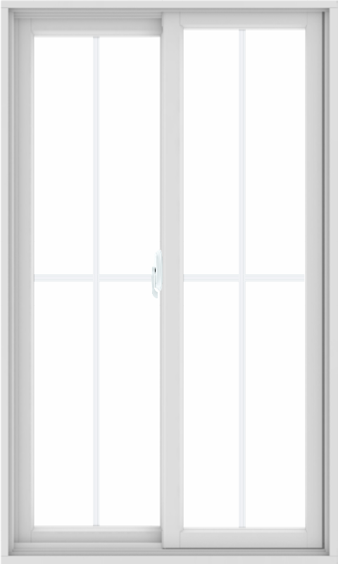 WDMA 36X60 (35.5 x 59.5 inch) White uPVC/Vinyl Sliding Window with Colonial Grilles