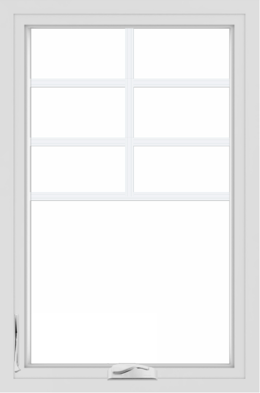 WDMA 24x36 (23.5 x 35.5 inch) White aluminum Crank out Casement Window with Top Colonial Grids