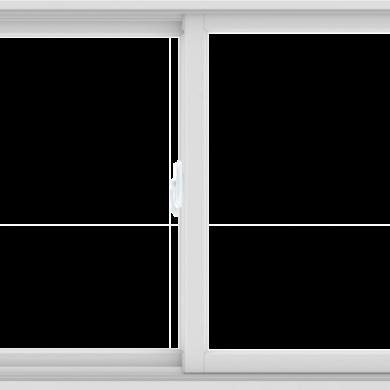 WDMA 60X36 (59.5 x 35.5 inch) White uPVC/Vinyl Sliding Window without Grids Interior