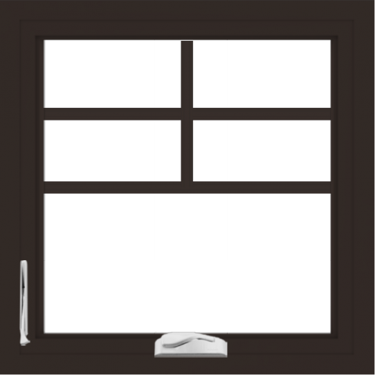 WDMA 24x24 (23.5 x 23.5 inch) Dark Bronze Aluminum Crank out Casement Window with Top Colonial Grids