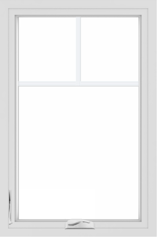 WDMA 24x36 (23.5 x 35.5 inch) black uPVC/Vinyl Crank out Casement Window with Fractional Grilles Interior