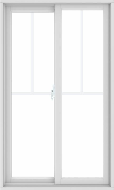 WDMA 36X60 (35.5 x 59.5 inch) White uPVC/Vinyl Sliding Window with Fractional Grilles