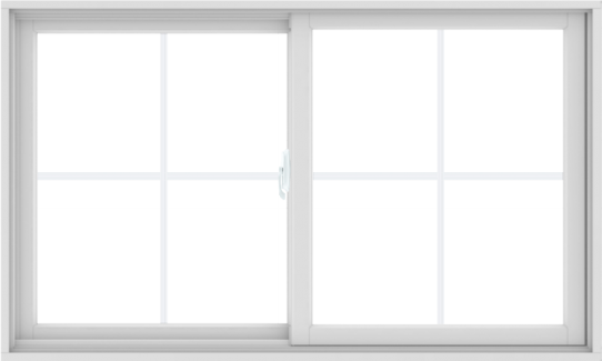 WDMA 60X36 (59.5 x 35.5 inch) White uPVC/Vinyl Sliding Window with Colonial Grilles
