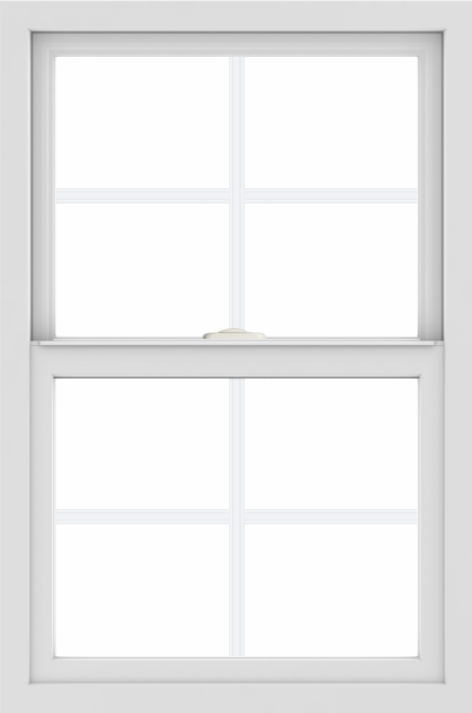 WDMA 24x36 (24.5 x 36.5 inch) White uPVC/Vinyl Single and Double Hung Window with Colonial Grilles