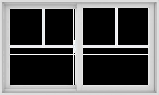 WDMA 60X36 (59.5 x 35.5 inch) White uPVC/Vinyl Sliding Window with Fractional Grilles